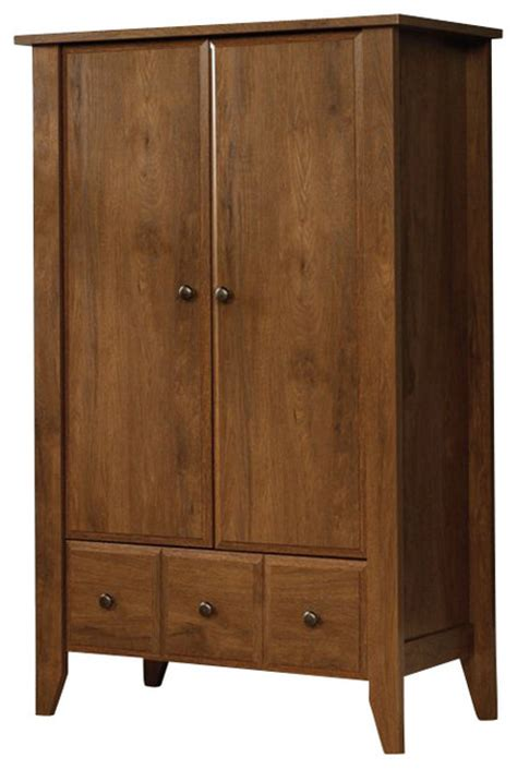 dressers chests and bedroom armoires sauder shoal creek armoire in oiled oak transitional
