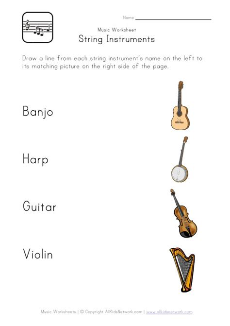 String Worksheets - string instruments worksheet