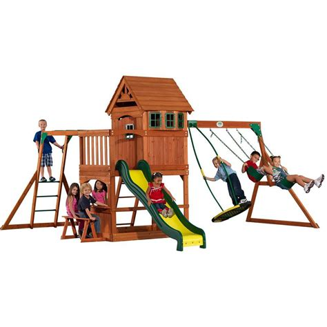 cedar backyard playsets backyard discovery montpelier all cedar playset shopyourway