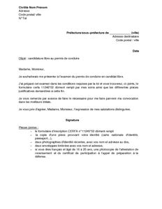 Lettre De Pr Sentation Carrefour Jeunesse Emploi Lettre De Demande De Pr 233 Sentation Au Permis De Conduire En Candidat Libre Mod 232 Le De Lettre