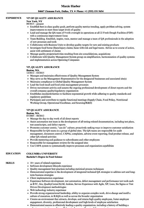 vp quality assurance resume sles velvet