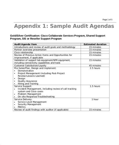 9 sle audit agenda free sle exle format