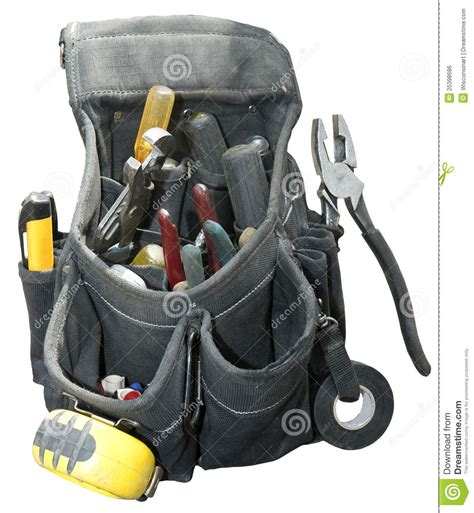 tool belt setup handyman contractor worker tool belt isolated royalty free