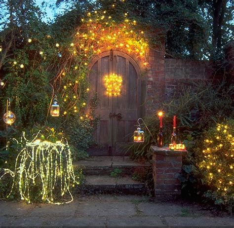 wooden curved door with stunning string lights for rustic garden decorating ideas with enticing