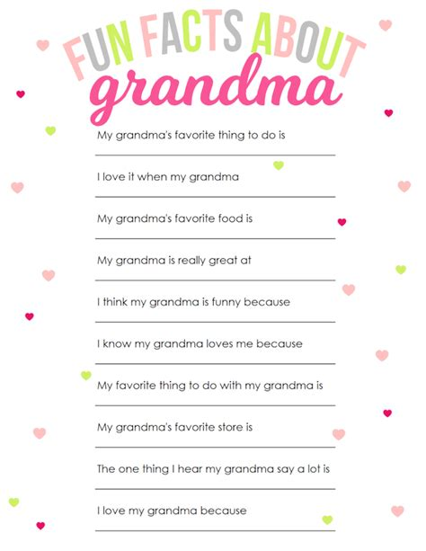 printable grandma questionnaire mother s day printable for grandma