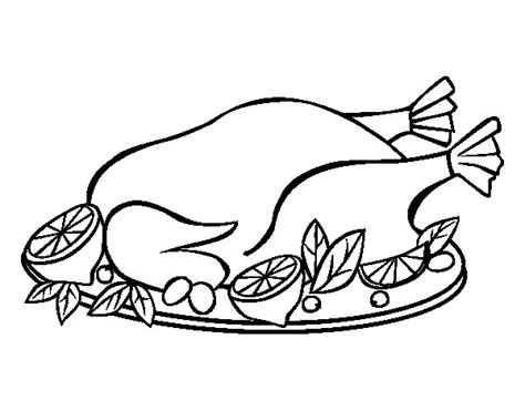 roast chicken coloring page chicken with garnish coloring page coloringcrew com