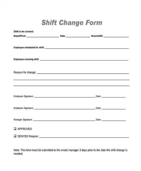 schedule change request form template sle employee shift change forms 7 free documents in