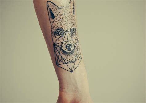 nice geometric fox tattoo tattoomagz