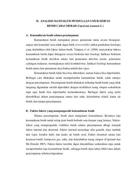 Benih Cabai Merah analisis matematis pendugaan umur simpan benih cabai merah capsicum