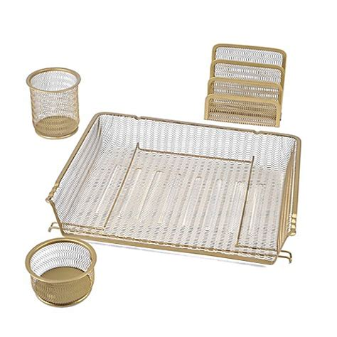 gold desk organizer mesh desk organizer 4 set in gold bed bath beyond