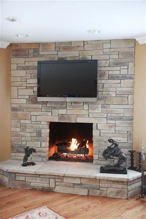 ledge stack fireplaces traditional