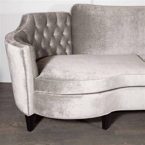 gray velvet tufted sofa stunning sofa in luxe smoked gray velvet with button tufted detail at 1stdibs