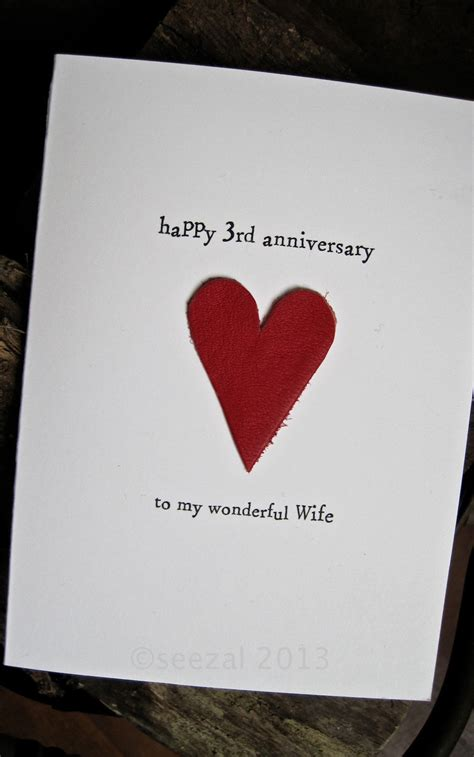 Leather Wedding Anniversary Card by 3rd Wedding Anniversary Card Leather Traditional Gift Handmade