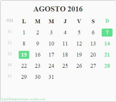 Calendario Agosto 2016 Calendario A 241 O 2016 Con Festivos Colombia Las Empresas