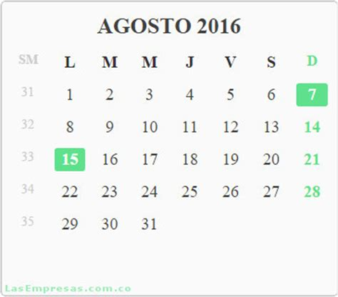 Calendario De Colombia 2016 Calendario A 241 O 2016 Con Festivos Colombia Las Empresas