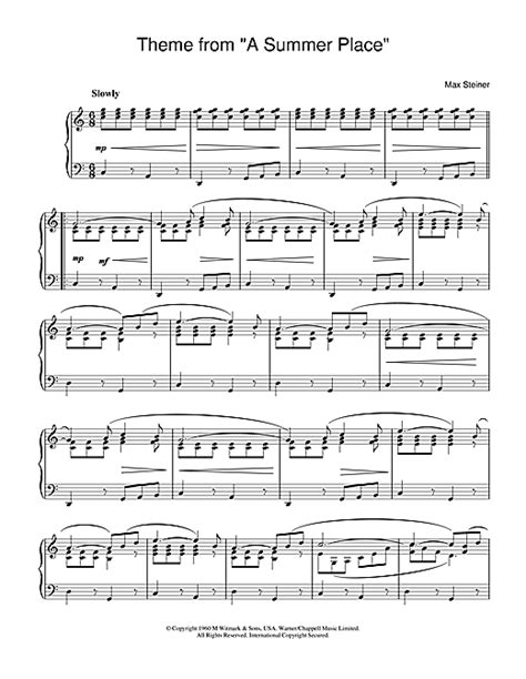 (Theme From) A Summer Place sheet music by Max Steiner