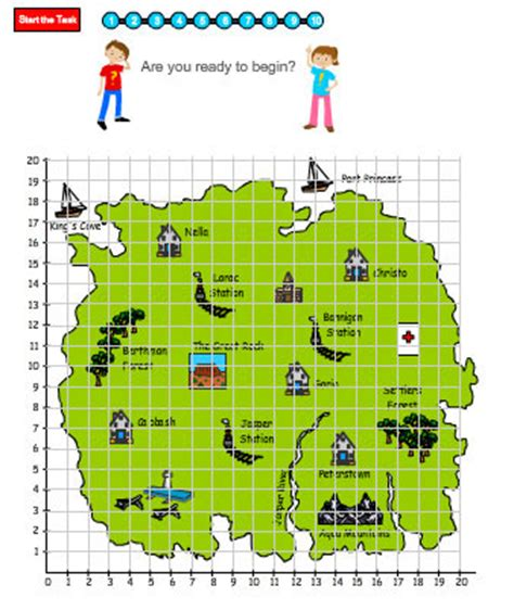 coordinates map using coordinates to read a map mathematics skills interactive activity lessons