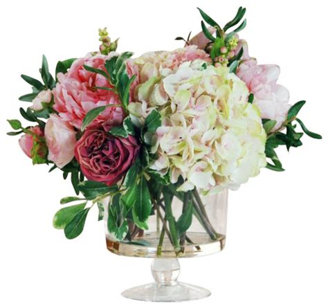 Glass Vases With Artificial Flowers by Garden Flowers In Glass Flower Arrangement Traditional