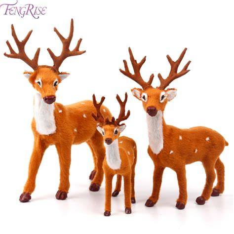 christmas decorations with deer head pic fengrise 15 20 25cm reindeer deer elk plush simulation decorations for home