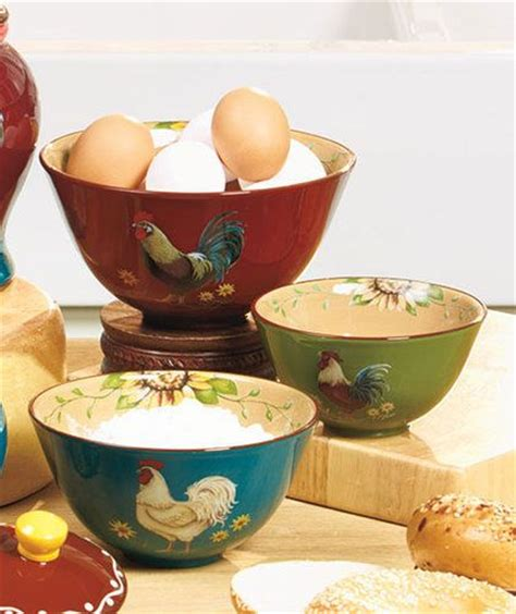 set of 3 rooster canisters country kitchen accent home new good morning rooster kitchen decorative set of 3 bowls