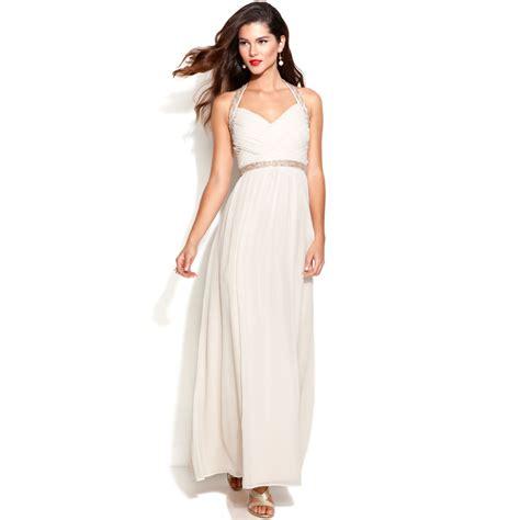 calvin klein beaded halter gown lyst calvin klein sleeveless beaded halter gown in