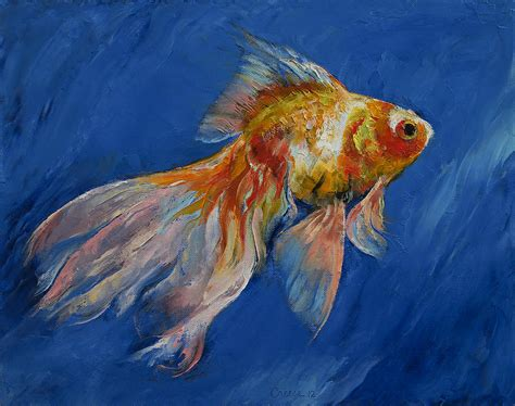 Metal Fish Wall Decor Goldfish Painting By Michael Creese