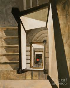 Stairs Artist by Museum Stairs Painting By Micheal Jones