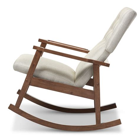 couch rocking chair baxton studio agatha mid century modern light beige fabric