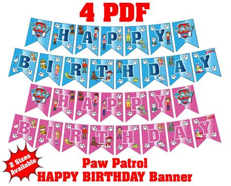 printable banner paw patrol the 25 best paw patrol birthday supplies ideas on