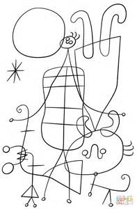 figures and dog in front of the sun by joan miro coloring