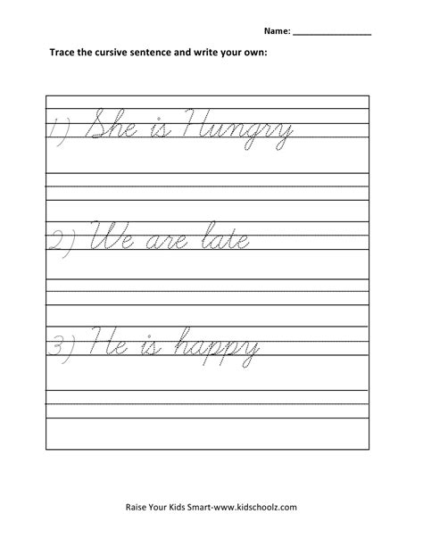 free printable handwriting worksheets with sentences 13 best images of cursive writing worksheets sentences