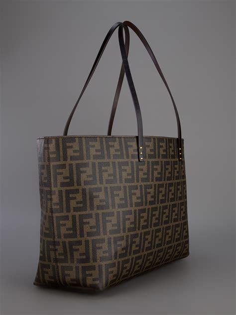 lyst fendi monogram shopper tote  brown