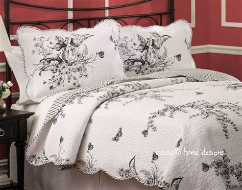 Black Toile Bedding Sets Black White Toile Quilt Set Country Cottage Comforter Ebay