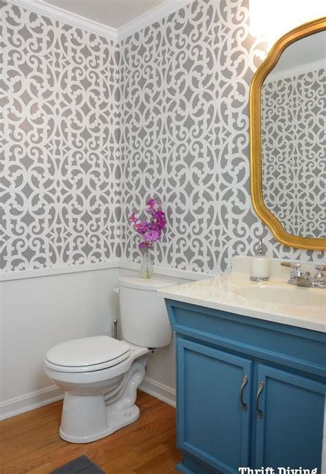 before after a colorful small gray bathroom with a wall stencil hometalk