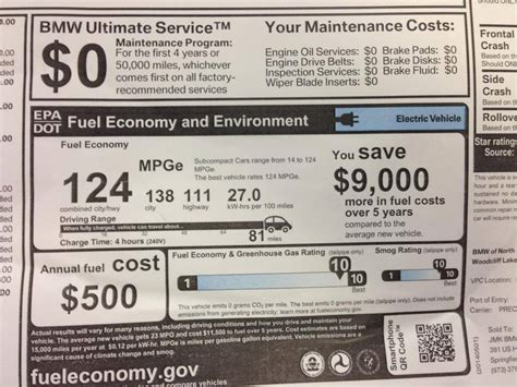 image window sticker   bmw  battery electric car showing epa ratings photo tom