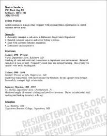 Resume Exles For Cashier by Cashier Resume Template Retailing Resume Sles Collection