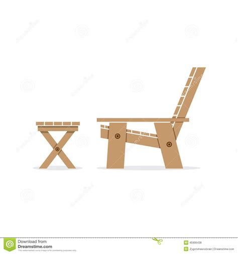 chair side view vector side view of wooden garden chair and table stock vector