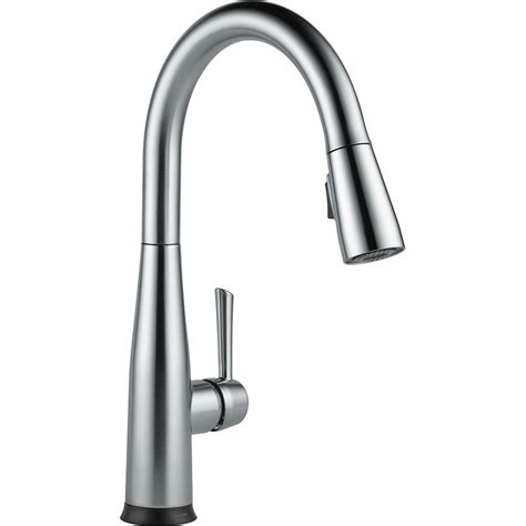 delta touch2o kitchen faucet shop delta essa touch2o arctic stainless 1 handle pull deck mount kitchen faucet at lowes