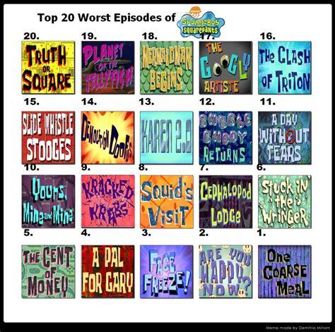 best money talks episodes 20 worst episodes of spongebob part 2 by