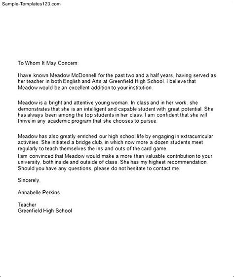 Exles Of Letter Of Recommendation For College Student Writing A Letter Of Recommendation For A Student For College