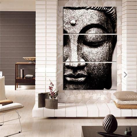 large sculptures home decor banmu frameless gray 3 panel modern large oil style buddha
