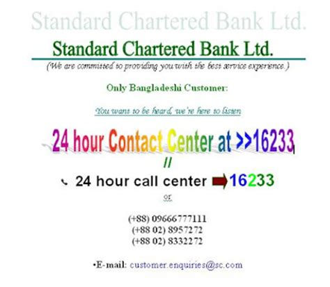 Standard Chartered Bank Contact Center Help Line And