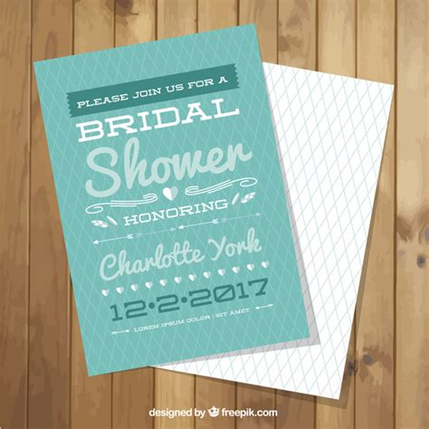 geometric bridal shower invitation template vector free
