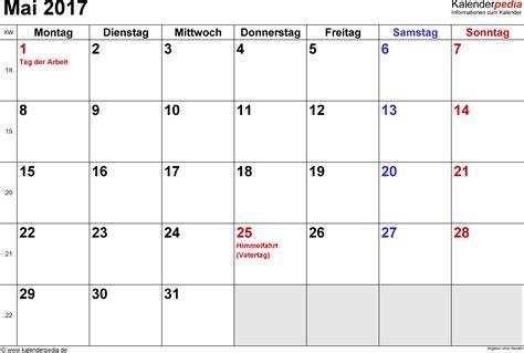 Mai Kalender 2017 Kalender Mai 2017 Als Word Vorlagen