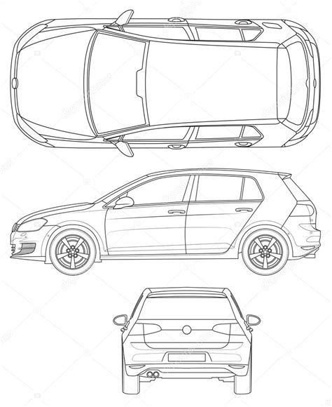 Auto Schablone by Obrys šablona Auto Stock Vektor 169 Lukaves 128601876