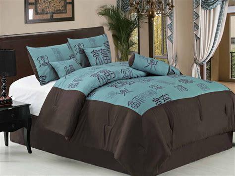 asian comforter sets queen 7pcs queen blue asian blocks comforter set ebay