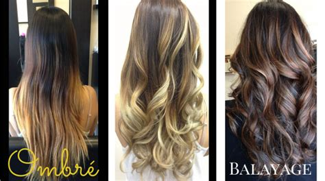 balayage hair color vs ombre images that display the difference between balayage vs