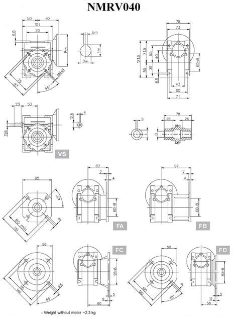 Worm Drive Gearbox NMRV040 10:1 ratio B5 Flange 14mm