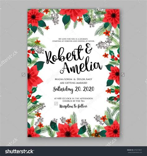poinsettia wedding invitation sle card beautiful winter