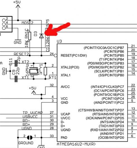 atmega reset pull up resistor differences between the arduino uno revision 2 and revision 3